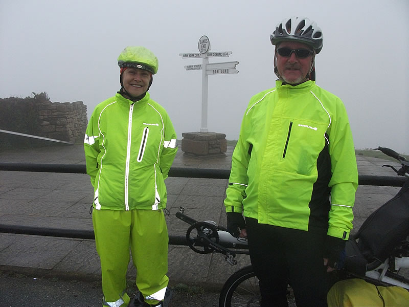 Land's End. Miserable weather on the ride out – it could have been fields or a huge drop to the sea on the other side of the hedge. Had a job finding the sign in the misty drizzle. Dried out a bit on the way back to Penzance.
