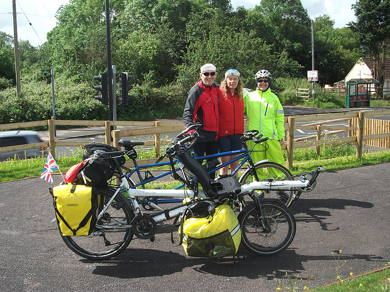 With Linda and David Bailey who met us on route, guided us back to their home on the fringes of Weston-Super-Mare and put us up for the night. The next day they led us part-way along the Strawberry line befor saying goodbye.