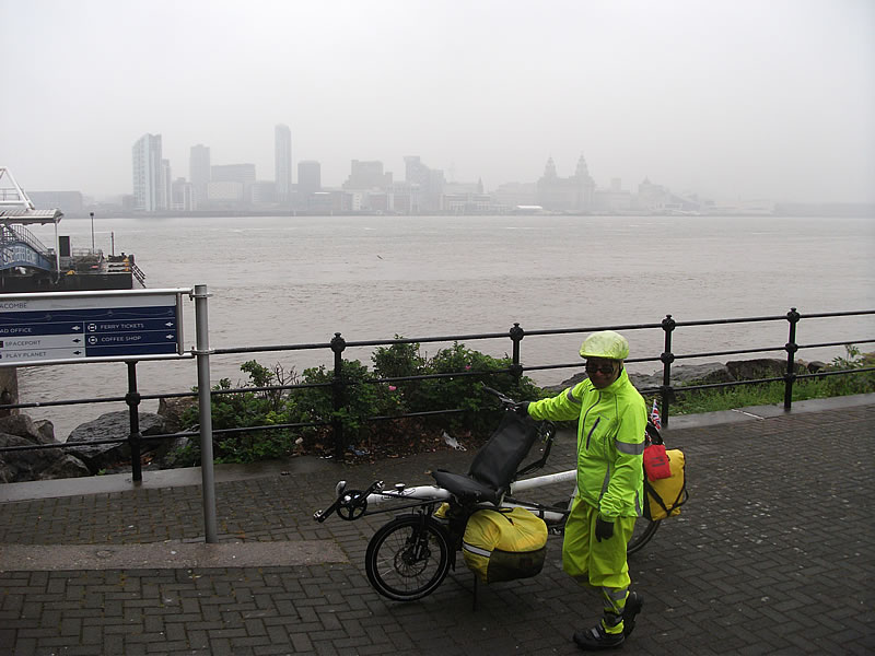 Liverpool from Birkenhead. We rode straight there from our B&B as it was just too wet to ride the longer and more pleasant route we'd planned.
