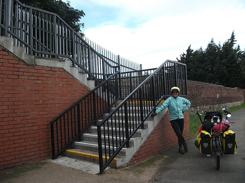 Steps to cycle down on to the Liverpool Canal.