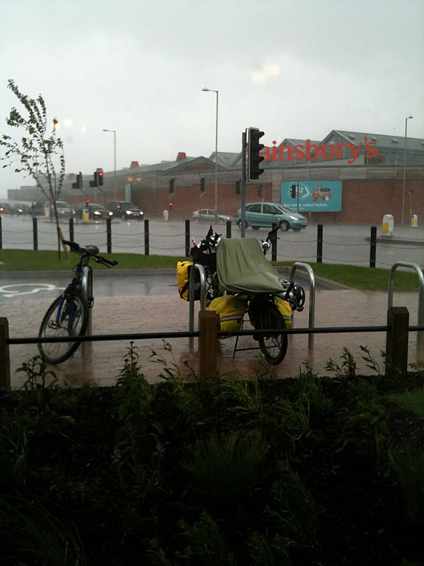 Gloucester downpour. Just as we got inside for some lunch the heavens opened. We stayed put till after.
