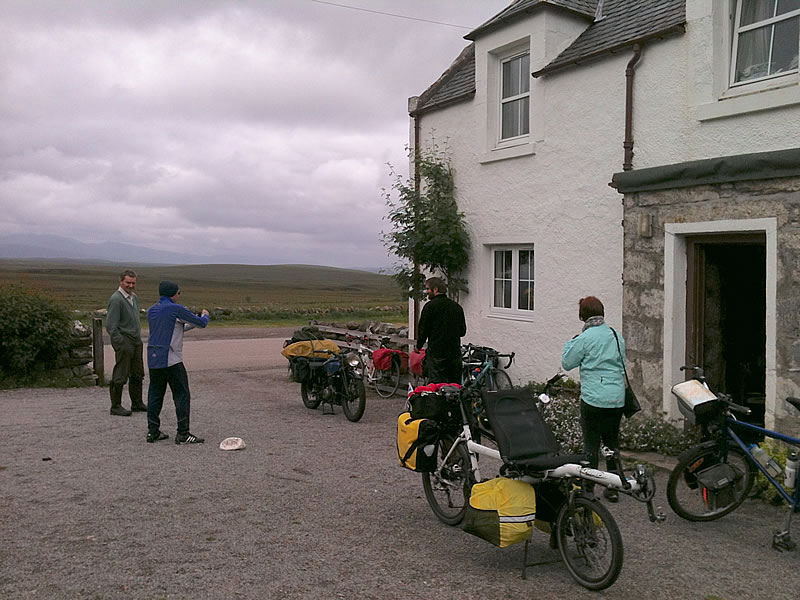 The Crask Inn. An eccentric Frenchman on a 1940's motorbike, a cycling hill climber, four Lejoggers from Yorkshire, us and the Farmer/Landlord – all in the middle of nowhere.