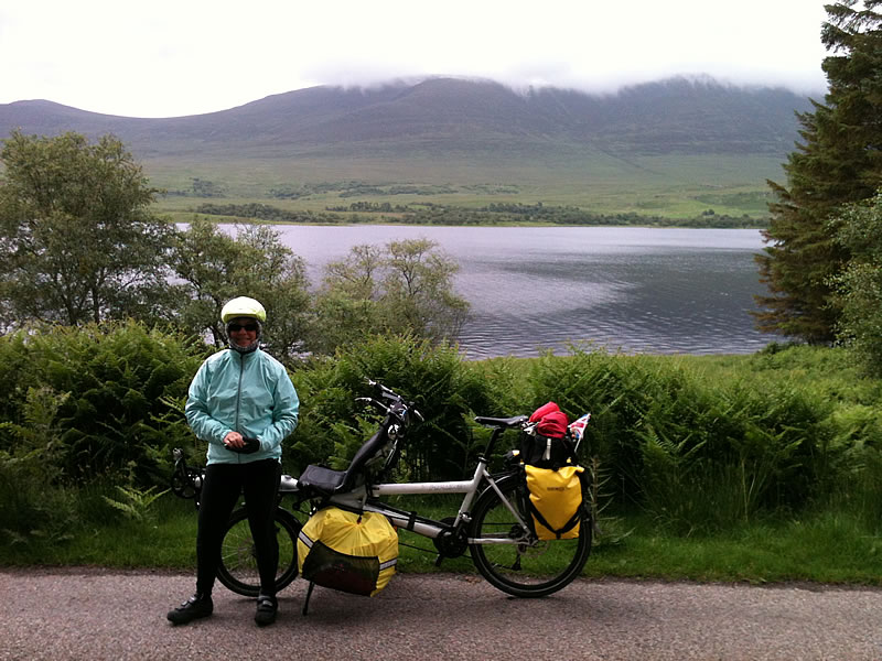 Loch Naver. Despite some showers and a few climbs at the end of the day, it was a good days riding, first following the loch then the River Naver to the sea at Bettyhill.